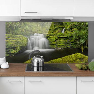 Spritzschutz Glas - Lower McLean Falls in Neuseeland - Querformat 1:2