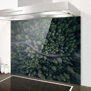 Spritzschutz Glas - Luftbild - Waldstraße von Oben - Querformat 3:4