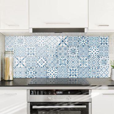 Spritzschutz Glas - Musterfliesen Blau Weiß - Panorama
