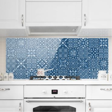 Spritzschutz Glas - Musterfliesen Dunkelblau Weiß - Panorama