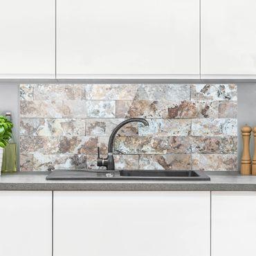 Spritzschutz Glas - Naturmarmor Steinwand - Panorama Quer