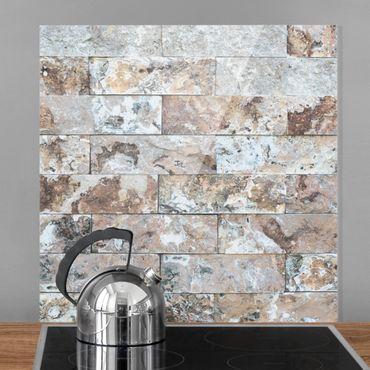 Spritzschutz Glas - Naturmarmor Steinwand - Quadrat 1:1