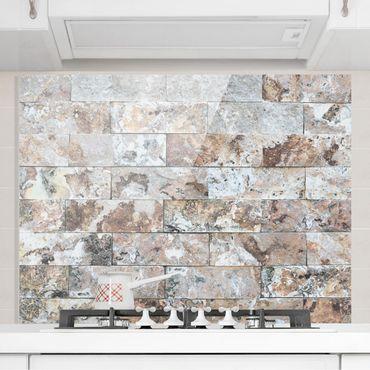 Spritzschutz Glas - Naturmarmor Steinwand - Quer 4:3