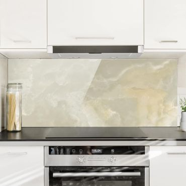 Spritzschutz Glas - Onyx Marmor Creme - Panorama Quer