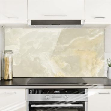 Spritzschutz Glas - Onyx Marmor Creme - Quer 2:1