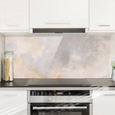 Spritzschutz Glas - Onyx Marmor Grau - Panorama Quer