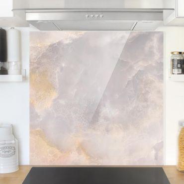 Spritzschutz Glas - Onyx Marmor Grau - Quadrat 1:1