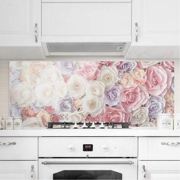 Spritzschutz Glas - Pastell Paper Art Rosen - Panorama Quer