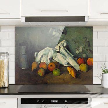 Spritzschutz Glas - Paul Cézanne - Milchkanne und Äpfel - Quer 4:3
