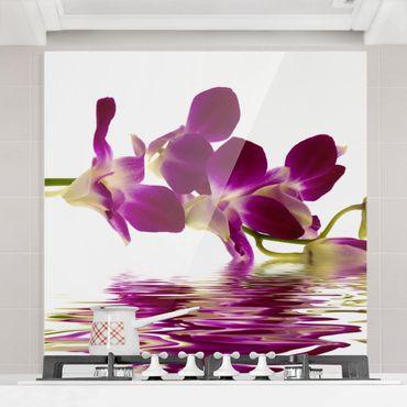 Spritzschutz Glas - Pink Orchid Waters - Quadrat 1:1