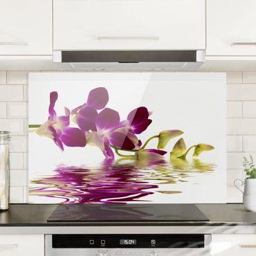Spritzschutz Glas - Pink Orchid Waters - Quer 3:2
