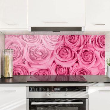 Spritzschutz Glas - Rosa Rosen - Panorama