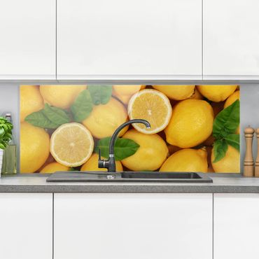 Spritzschutz Glas - Saftige Zitronen - Panorama Quer