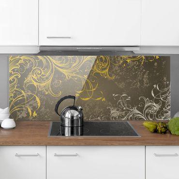 Spritzschutz Glas - Schnörkel in Gold und Silber - Panorama Quer