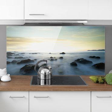 Spritzschutz Glas - Sonnenuntergang über dem Ozean - Quer 2:1