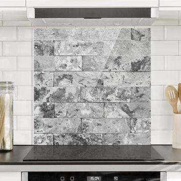 Spritzschutz Glas - Steinwand Naturmarmor grau - Quadrat 1:1