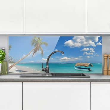 Spritzschutz Glas - Tropischer Strand - Panorama Quer