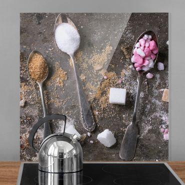 Spritzschutz Glas - Vintage Löffel mit Zucker - Quadrat 1:1