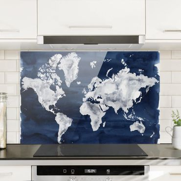Spritzschutz Glas - Wasser-Weltkarte dunkel - Querformat 2:3