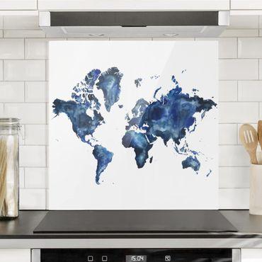 Spritzschutz Glas - Wasser-Weltkarte hell - Quadrat 1:1