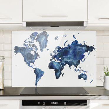 Spritzschutz Glas - Wasser-Weltkarte hell - Querformat 2:3