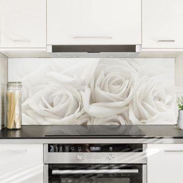 Spritzschutz Glas - Weiße Rosen - Panorama Quer