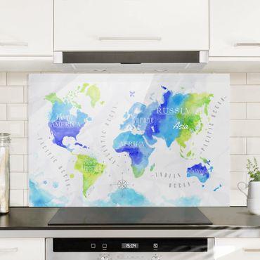 Spritzschutz Glas - Weltkarte Aquarell blau grün - Quer 3:2
