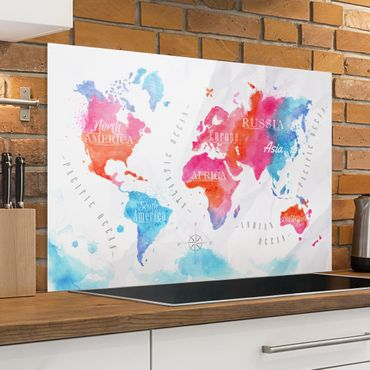 Spritzschutz Glas - Weltkarte Aquarell rot blau - Quer 3:2