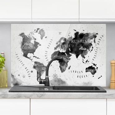 Spritzschutz Glas - Weltkarte Aquarell schwarz - Quer 3:2