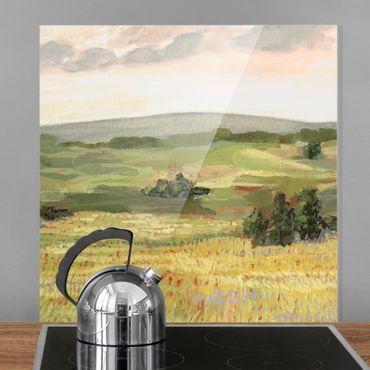 Spritzschutz Glas - Wiese am Morgen I - Quadrat 1:1
