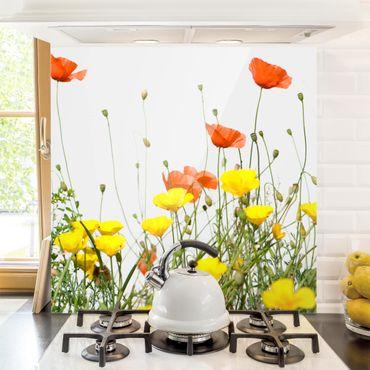 Spritzschutz Glas - Wild Flowers - Quadrat 1:1