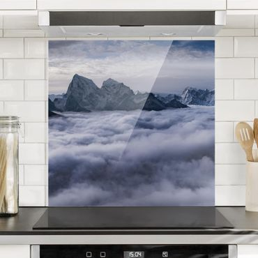 Spritzschutz Glas - Wolkenmeer im Himalaya - Quadrat 1:1