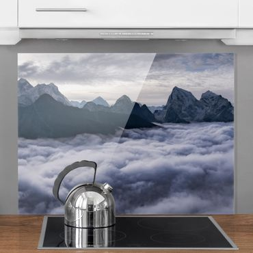 Spritzschutz Glas - Wolkenmeer im Himalaya - Querformat 3:4