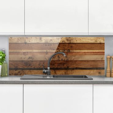 Spritzschutz Glas - Woody Birdseye - Panorama Quer
