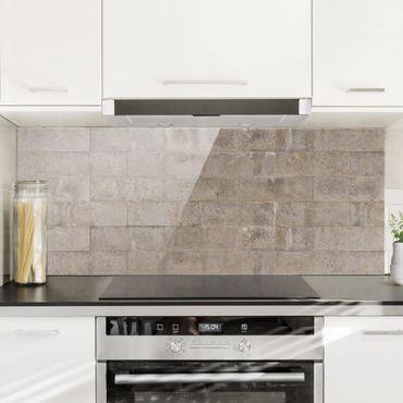 Spritzschutz Glas - Ziegel Beton - Panorama Quer