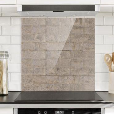 Spritzschutz Glas - Ziegel Beton - Quadrat 1:1