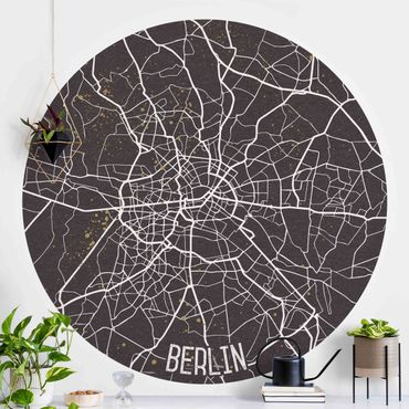 Runde Tapete selbstklebend - Stadtplan Berlin - Retro