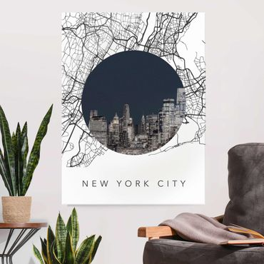 Glasbild - Stadtplan Collage New York City - Hochformat