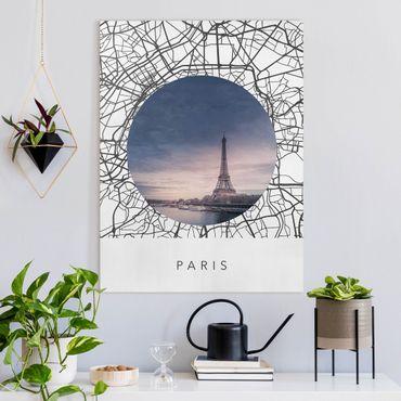 Leinwandbild - Stadtplan Collage Paris - Querformat 3:4