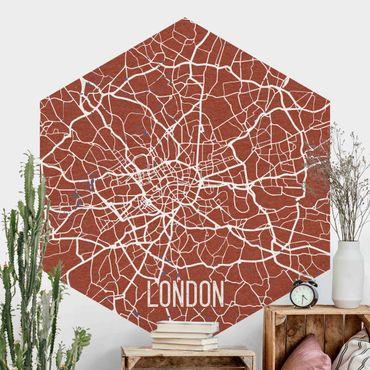 Hexagon Mustertapete selbstklebend - Stadtplan London - Retro