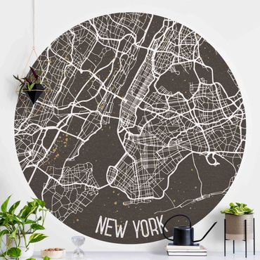 Runde Tapete selbstklebend - Stadtplan New York- Retro