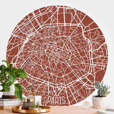 Runde Tapete selbstklebend - Stadtplan Paris - Retro