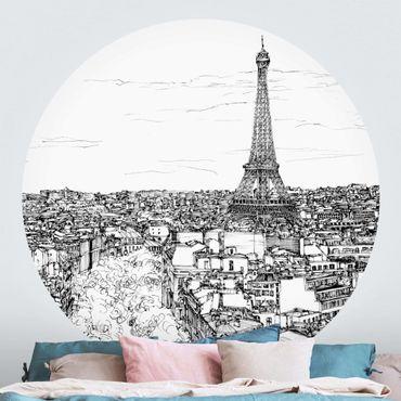 Runde Tapete selbstklebend - Stadtstudie - Paris