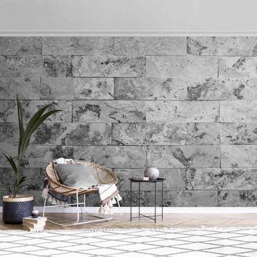 Metallic Tapete  - Steinwand Naturmarmor grau