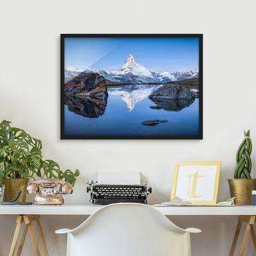 Bild mit Rahmen - Stellisee vor dem Matterhorn - Querformat