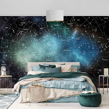 Metallic Tapete  - Sternbilder Karte Galaxienebel