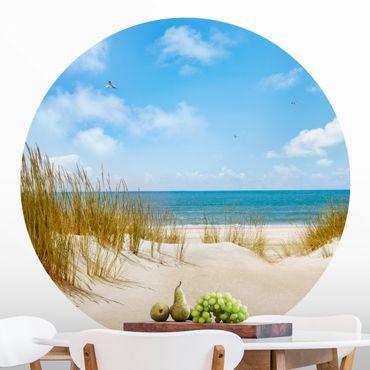Runde Tapete selbstklebend - Strand an der Nordsee