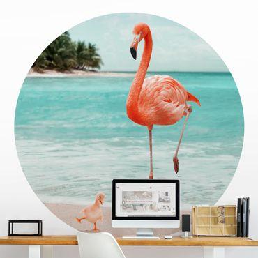 Runde Tapete selbstklebend - Strand mit Flamingo