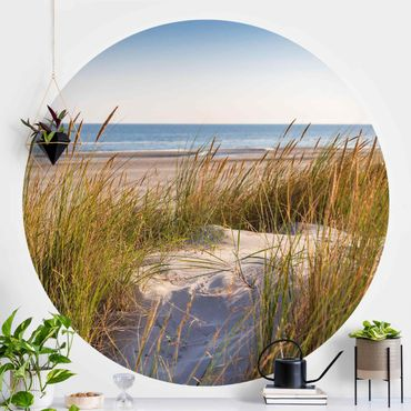 Runde Tapete selbstklebend - Stranddüne am Meer