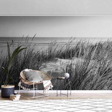 Metallic Tapete  - Stranddüne am Meer Schwarz-Weiß